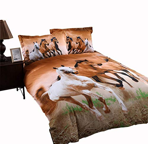Price comparison product image Wowelife Galloping Horse Bedding Sets Queen 3D Horse Sheets Set 5pcs with Duvet Cover, Bed Sheet,Fitted Sheet and 2 Pillow Cases(Comforter Not Included)(Queen-5 Pieces)