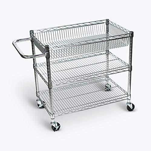 (LUXOR LICWT2918 Wire Tub Heavy Duty Transport Storage Utility Cart, 3 Shelves)
