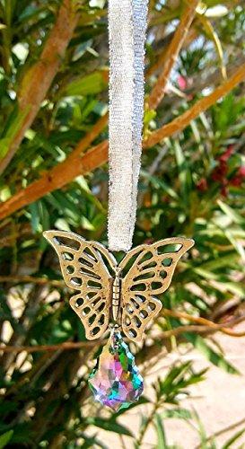BUTTERFLY CAR CHARM Suncatcher Rearview Mirror Dangler Totem Swarovski Crystal