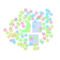 Glow in the Dark Stars Stickers for Ceiling, Adhesive 200pcs 3D Glowing Stars and...