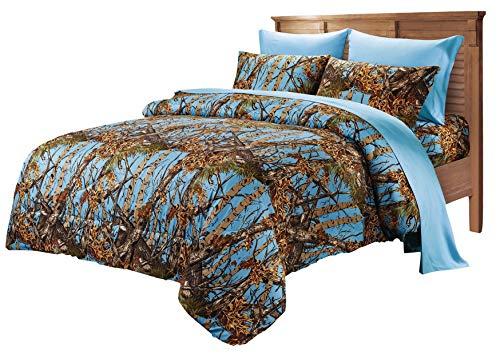 Hemau Premium New Soft Super Soft Microfiber Camo Comforter Spread (King, Powder Blue)   Style 503195688