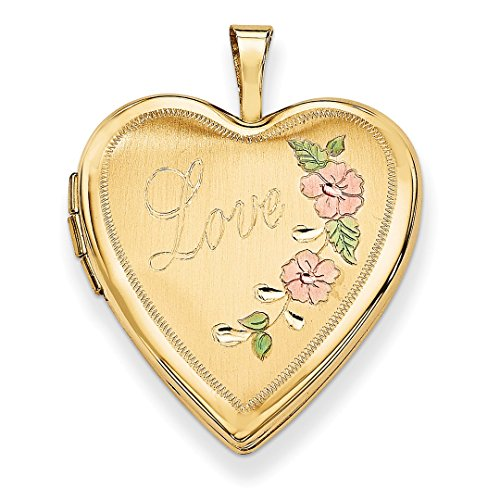 ICE CARATS 14k Yellow Gold 20mm Enamel Flowers Love Heart Photo Pendant Charm Locket Chain Necklace That Holds Pictures Fine Jewelry Ideal Mothers Day Gifts For Mom Women Gift Set From Heart by ICE CARATS