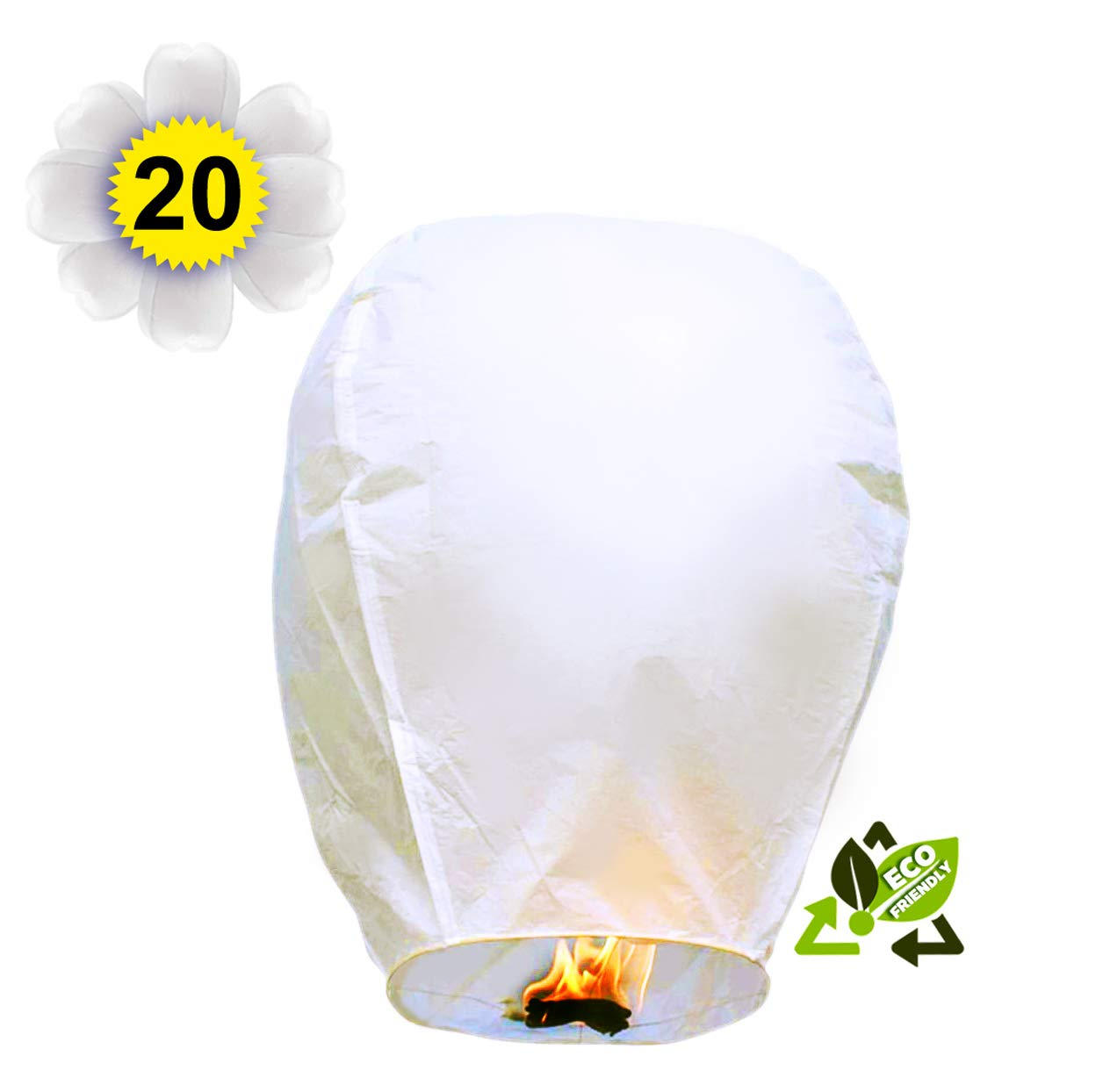20PACK of Chinese Lanterns ECO Friendly Biodegradable Beautiful Lanterns, White Flying Wish Lanterns for Wedding, Birthdays, Souvenirs by PEACH-T