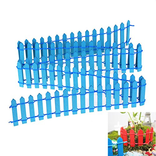 Datingday 40 inch Length Miniature Wooden Fence Fairy Garden Ornament DIY Micro Landscape (Blue Fence)