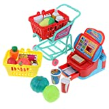 D DOLITY Kids Plastic Supermarket w/ Cash Register, Shopping Cart and Accessories, Kids Christmas Pretend Role Play Toy Set