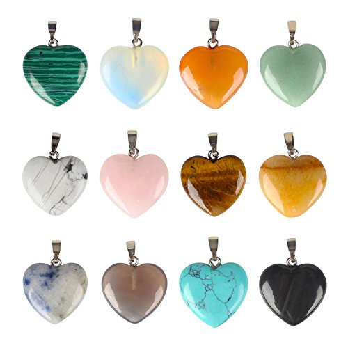 Silver Tone Tigers Eye - SPUNKYCHARMS Wholesale 12 PCS Heart Shaped Natural Stone Pendants Healing Chakra Reiki Love Charm Bulk for Jewelry Making