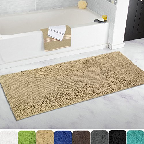 MAYSHINE 27.5×47 inch Non-slip Bathroom Rug Shag Shower Mat Machine-washable Bath mats with Water Absorbent Soft Microfibers of – Marzipan