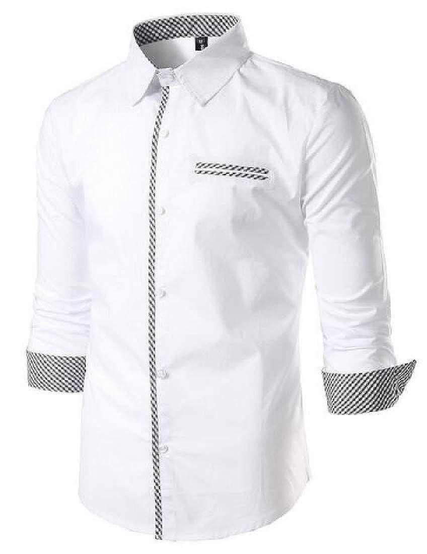 Rrive Mens Button Up Patchwork Regular Fit Long Sleeve Business Dress Work Shirt