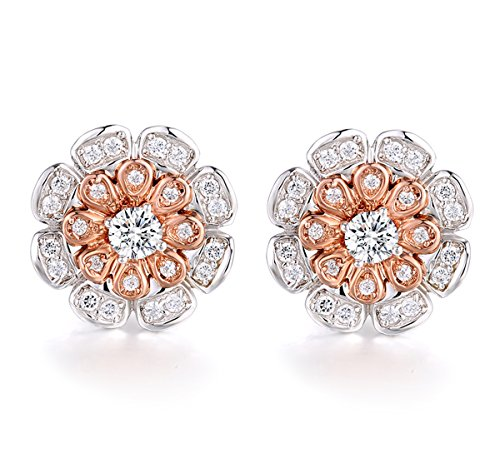 925 Sterling Silver Rose Gold Plated Removable Jackets Stud Earrings with CZ Pave for Girls (Rose Gold)