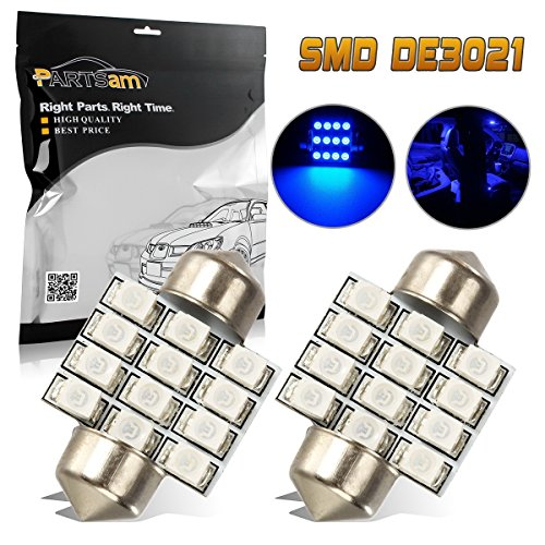 Partsam 31mm Festoon LED Light Bulbs for Interior Lights Map Dome Door Courtesy Light Bulbs DE3021 3175 -Blue 2Pcs