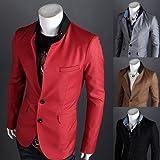 2014 Autumn Mens Business red Blazer Fashion slim fit Jacket Blazers Coat two Button suit casual black Men suit jacket Plus Size