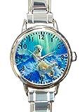 cute polar bear Custom Womens Round Charm Bracelet Wrist Watch