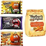 M&Ms Milk Chocolate + Werther's Candy Bundle   White Pumpkin Pie + Candy Corn + Cookies & Screeem/8.0oz + Original Harvest Pumpkin Spice Soft Carmels LIMITED EDITION /9.4oz   Autumn & Halloween Theme