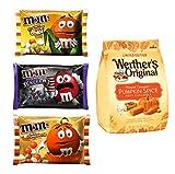 M&Ms Milk Chocolate + Werther's Candy Bundle | White Pumpkin Pie + Candy Corn + Cookies & Screeem/8.0oz + Original Harvest Pumpkin Spice Soft Carmels LIMITED EDITION /9.4oz | Autumn & Halloween Theme