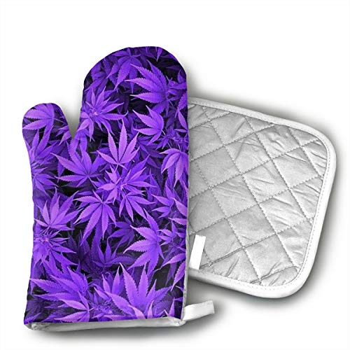 HEPKL Oven Mitts and Potholders Purple Weed Leaves Non-Slip Grip Heat Resistant Oven Gloves BBQ Cooking Baking Grilling