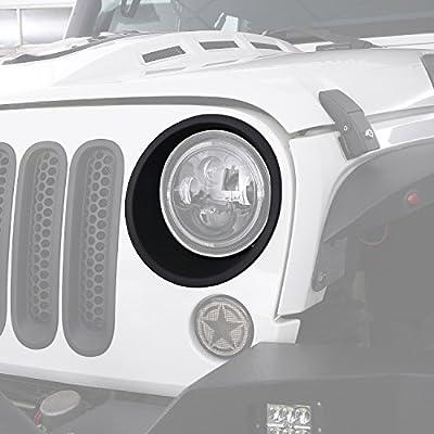 Hooke Road Matte Black Headlight Bezels Headlight Cover Trim for 2007-2018 Jeep Wrangler JK & Wrangler Unlimited