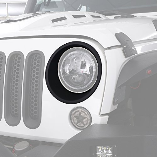 Jeep Headlight Bezel - Hooke Road Matte Black Headlight Bezels Headlight Cover Trim for 2007-2018 Jeep Wrangler JK & Wrangler Unlimited