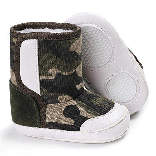 Babyschuhe Longra Baby Stiefel Schuhe Camouflage Baby Soft Sole Schnee Stiefel Soft Lauflernschuhe Krippeschuhe Kleinkind Stiefel(0-18Monate) Khaki