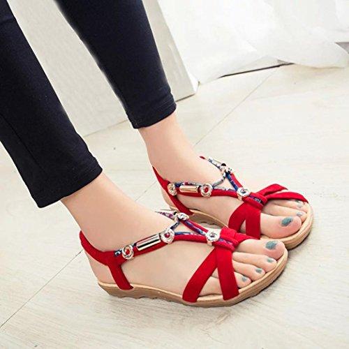 Sandalias para Mujer, RETUROM Sandalias de los flips-flopes del verano de las nuevas mujeres del estilo Rojo
