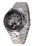 Jechin Men's Automatic Watches Skeleton Silver Dial Mechanical Wrist Watch Charm Stainless Steel Bracelet