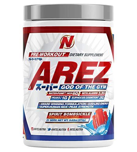 Arez Super | Pre Workout Powder with Immense Energy & No Crash | Peak Blood Flow & Vascularity | Cognition Matrix for Focus & Intensity - Spirit Bomb, 386 Grams