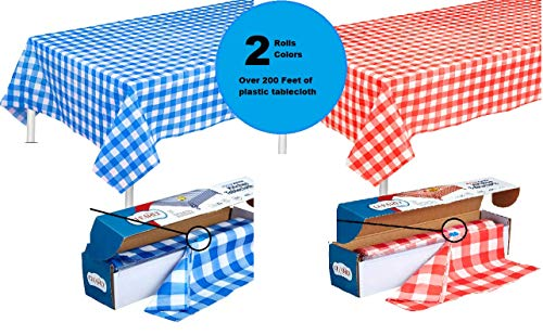 [ 2 ROLLS ] RED IN BLUE Gingham Plastic Tablecloth Roll With Cutter, 100' x 52