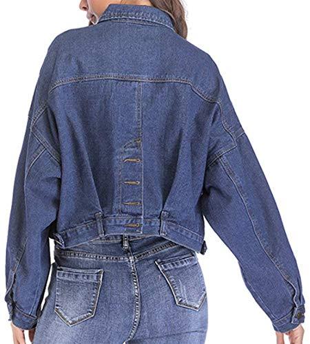 Stile Casual Manica Giacca Corto Jeans Moda Lunga Autunno Giacche Cappotto Donna Relaxed Outwear Women Streetwear Giovane Primaverile Tendenza Dunkelblau Elegante Eq7YxwaY