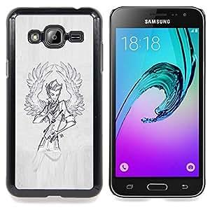 Eason Shop / Premium SLIM PC / Aliminium Casa Carcasa Funda Case Bandera Cover - Hombre Sketch Gris Pintura - For Samsung Galaxy J3 GSM-J300