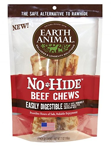 Earth Animal No Hide Beef Chews, 7 Inches, Rawhide Alternative Dog Treats, Pack of 2 ()
