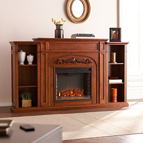 Southern Enterprises Chantilly Bookcase Electric Fireplace Autumn Oak by Unknown