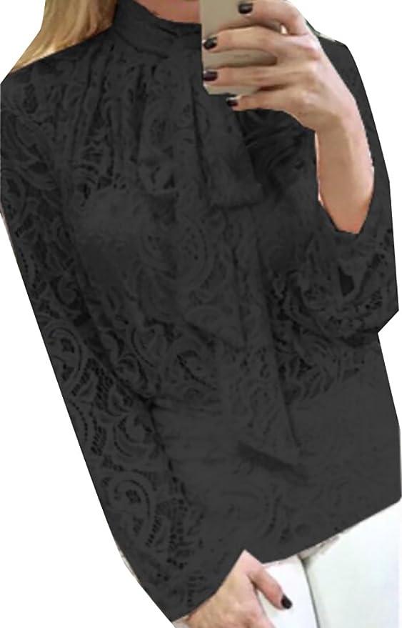 68c70f1693bc74 Amazon.com  Jaycargogo Women s Casual Bow Tie Blouse Lace Long Sleeve Tunic  T-Shirts black M  Clothing
