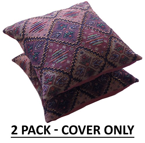 Cotton Craft - Ruidosa - Tapestry Jacquard Hand Beaded Decorative Toss Pillow - 2 Pack - Burgundy Multi - 18 Inch Square - Cover Only Insert or Polyfill Required