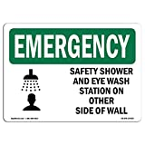 OSHA Emergency Sign - Safety Shower and Eye Wash Station with Symbol | Choose from: Aluminum, Rigid Plastic Or Vinyl Label Decal | Protect Your Business, Work Site, Warehouse |  Made in The USA