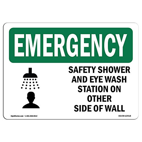 OSHA Emergency Sign - Safety Shower and Eye Wash Station with Symbol | Choose from: Aluminum, Rigid Plastic Or Vinyl Label Decal | Protect Your Business, Work Site, Warehouse | Made in The USA by SignMission