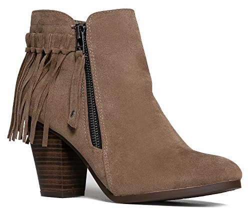 Cute Fringe Ankle Bootie - High Heel Western Cowgirl Boot - Stacked Wood Heel Shoe - Zip Up Vegan Leather