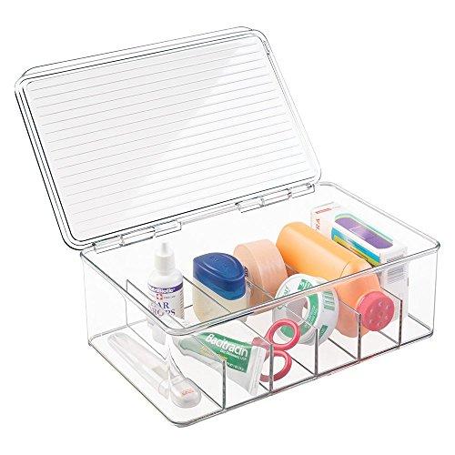 mDesign Aufbewahrungsbox Organizer für Erste-Hilfe, Vitamine, Medikamente, Zahnpflegeprodukte - 6 Fächer, Durchsichtig