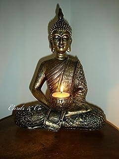 THAI BUDDHA WITH LOTUS TEALIGHT HOLDER ~ MEDITATING BUDDAH 33cm Tall