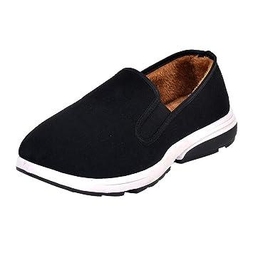 LuckyGirls Zapatos De Algodón para Hombre Felpa Antideslizante Calzado con Pelo por Dentro Zapatos Planos Zapatos Informales Mocasines: Amazon.es: Deportes ...