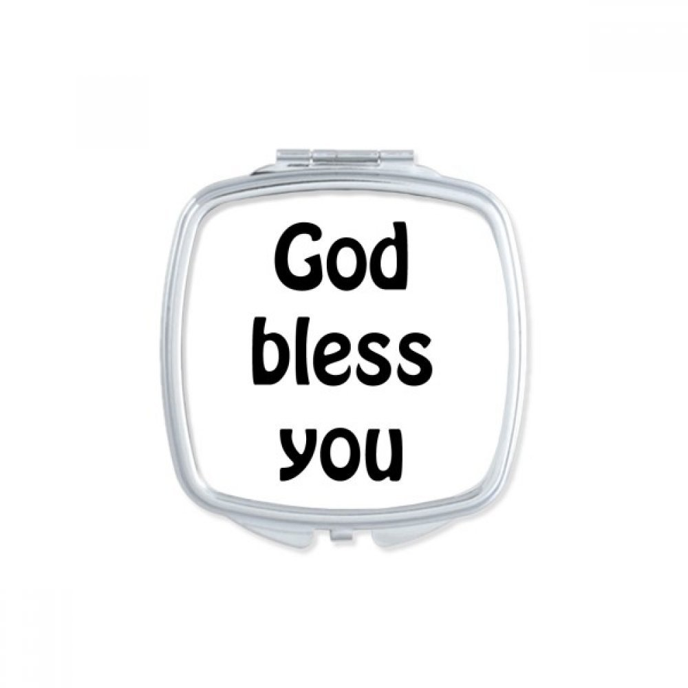 DIYthinker God Bless You Christian Quotes Square Compact Makeup Mirror Portable Cute Hand Pocket Mirrors Gift
