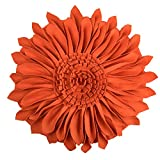 JWH 3D Sun Flower Accent Pillows Hand Crafted Round Cushion Decorative Pillowcases with Insert Home Sofa Bed Living Room Decor Gifts 14 Inch / 35 CM Wool Cotton Orange