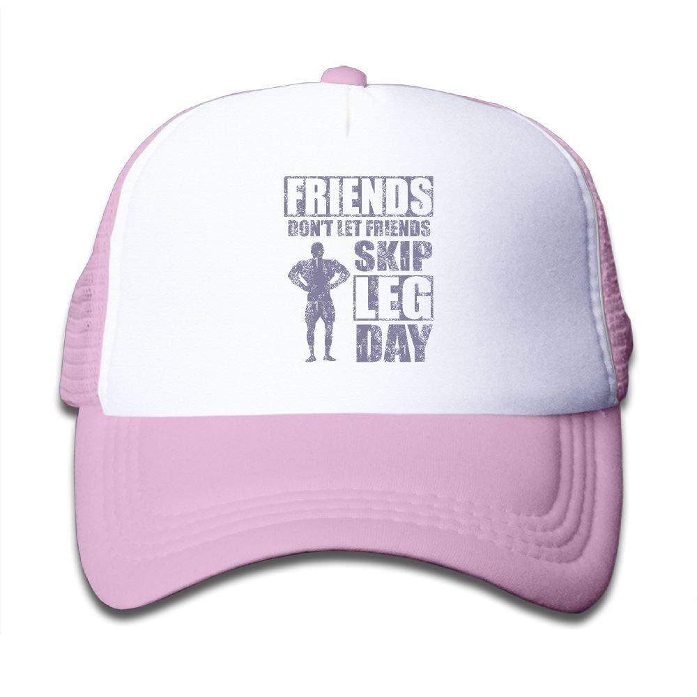 NO4LRM Kid's Boys Girls Friends Don't Let Friends Skip Leg Day Youth Mesh Baseball Cap Summer Adjustable Trucker Hat