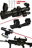 "Ledsniper® 2 in 1 Sniper Tactical Scope 1-4x28 5"" Eye Relief with Cantilever Mount and Etched Chevron Glass Reticle+tactical Red Laser"