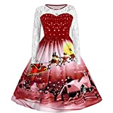 Crop Tops for Women,Women Ladies Fashion Lace Long Sleeve Christmas Snow Print Vintage Swing Dress,Tops, Tees & Blouses,Wine,S