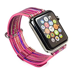 Tuff-Luv Genuine Leather Single Layer Wrist Watch Strap Band for Apple Watch Series 1/2/3 Strap - 42mm - Navajo (Pink / Rainbow)
