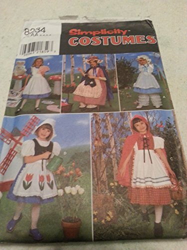 (Simplicity 8234 Toddler Girls Nursery Rhymn Characters Costume Pattern Size 3 to 6, Riding Hood, Bo Peep, Dutch Girl, Betty Ross,)