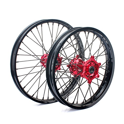 TARAZON 21'' 18'' Off-road Complete Wheel Set Rims Spokes Red Hubs for Honda CRF250R 04-13 CRF450R 04-12 CRF 250X 450X 04-16 by TARAZON (Image #2)