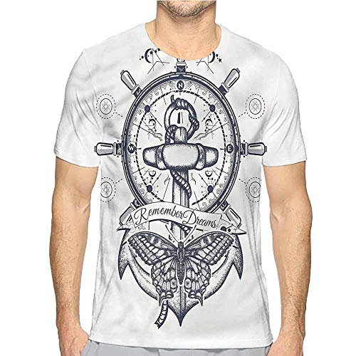 Mens t Shirt Nautical,Anchor and Steering Wheel HD Print t Shirt L ()
