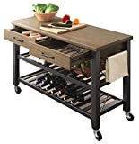 Kitchen Cart Utility,Portable Multipurpose Industrial Solid Wood Metal Frame,Cutting Board,Rolling,Wine Rack Drawers Corner Stool,On Wheels,Home Furniture & E book by Easy 2 Find.