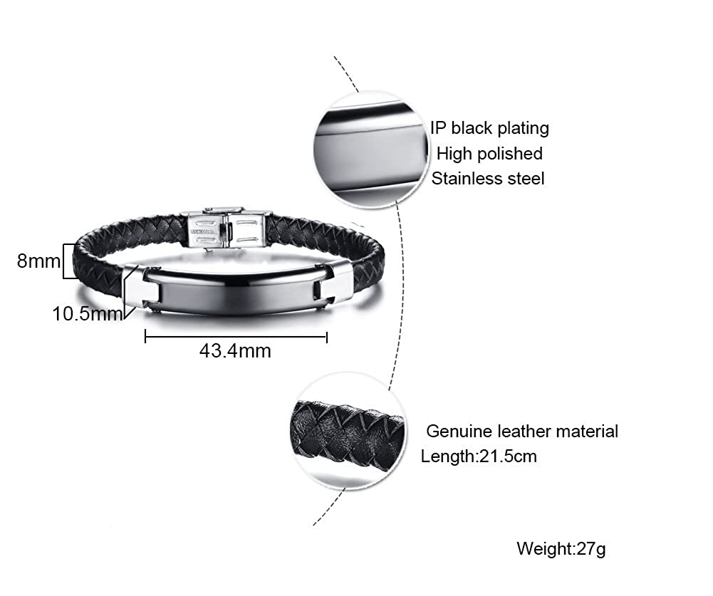 XUANPAI Personalized Custom Braided Genuine Leather Bangle Stainless Steel ID Tag Bracelet Wristband
