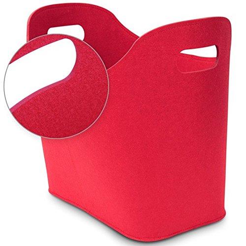 Kamino Trend Filzkorb für Kaminholz, Kaminholzkorb, ovale Form, mit zwei Griffen, rot, ca. 50 x 30 x 40 cm ...